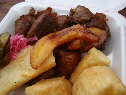 Fried pork and yuca